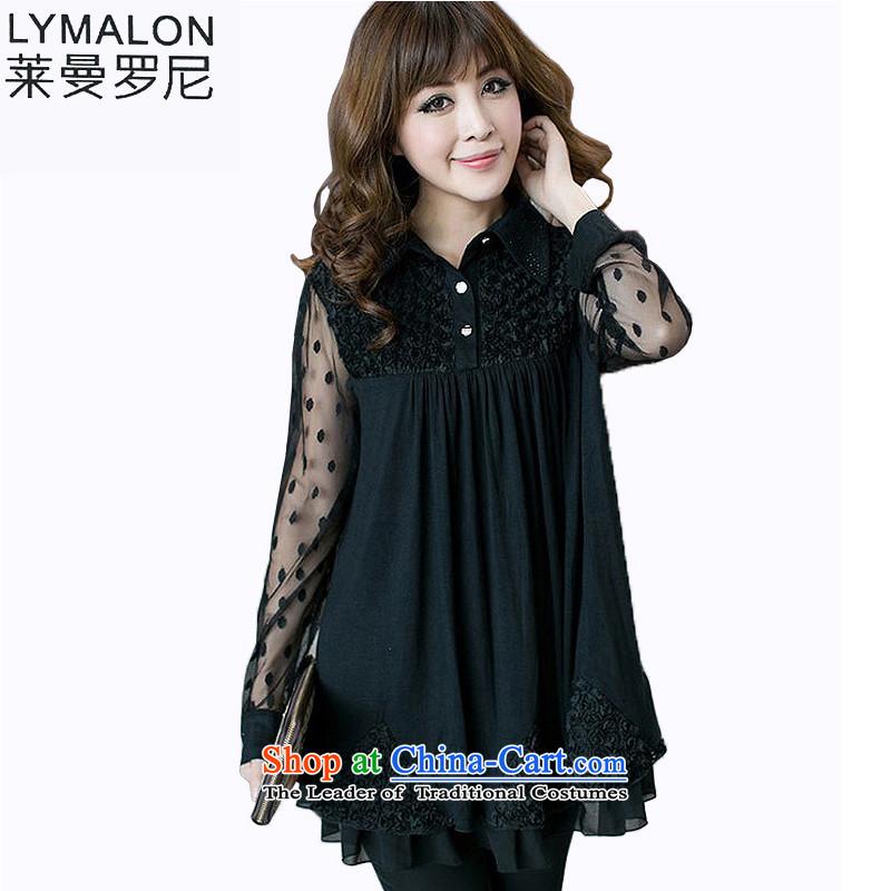 The lymalon lehmann thick, Hin thin 2015 autumn the new Korean trendy code women lapel long-sleeved shirt chiffon shirt 2301 Black�L