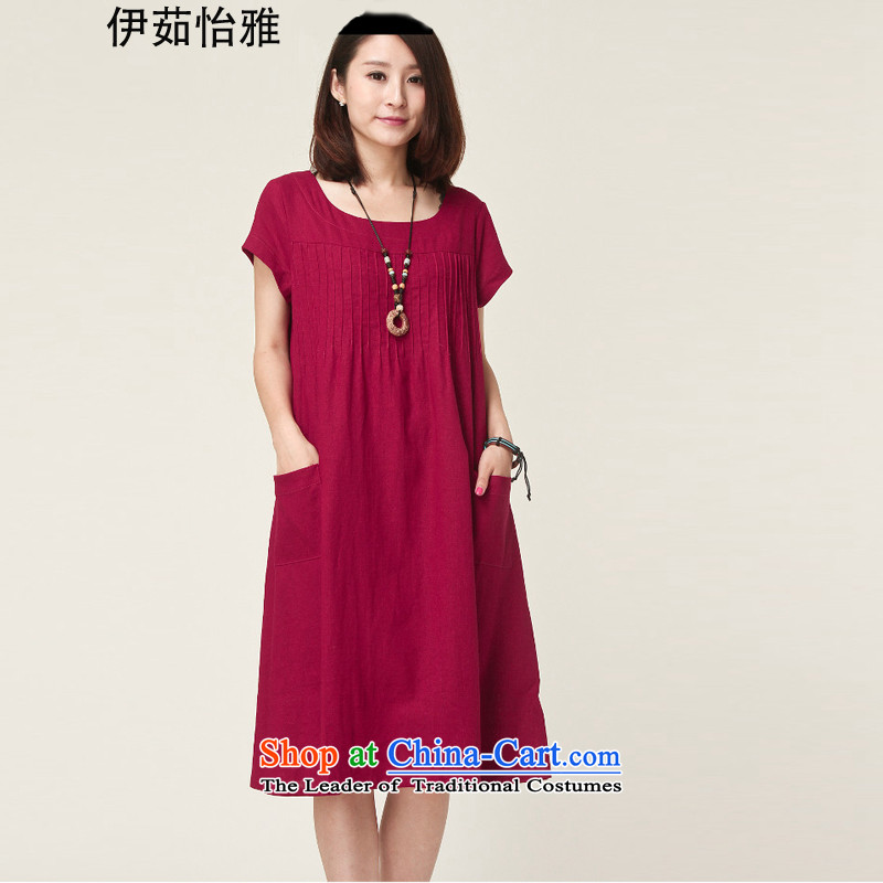 El-ju Yee Nga MOM pack for summer larger women's clothes to increase expertise relaxd MM cotton linen short-sleeved dresses YA9388 better red燣