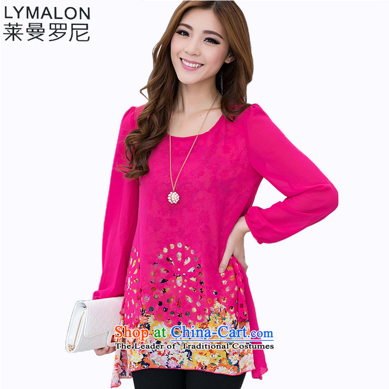 The lymalon lehmann autumn 2015 new product version of large Korean women's code round-neck collar wild long-sleeved shirt with     chiffon 6032燲XXL Burgandy