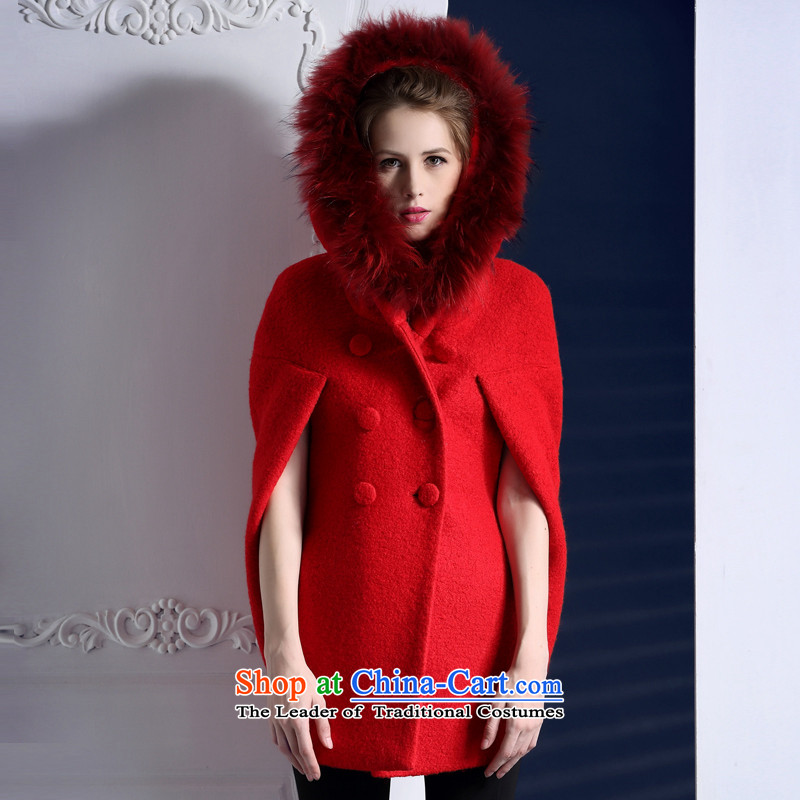 Queen Street female new autumn campaign sub gross Washable Wool cloak gross? overcoat D205 Red燤