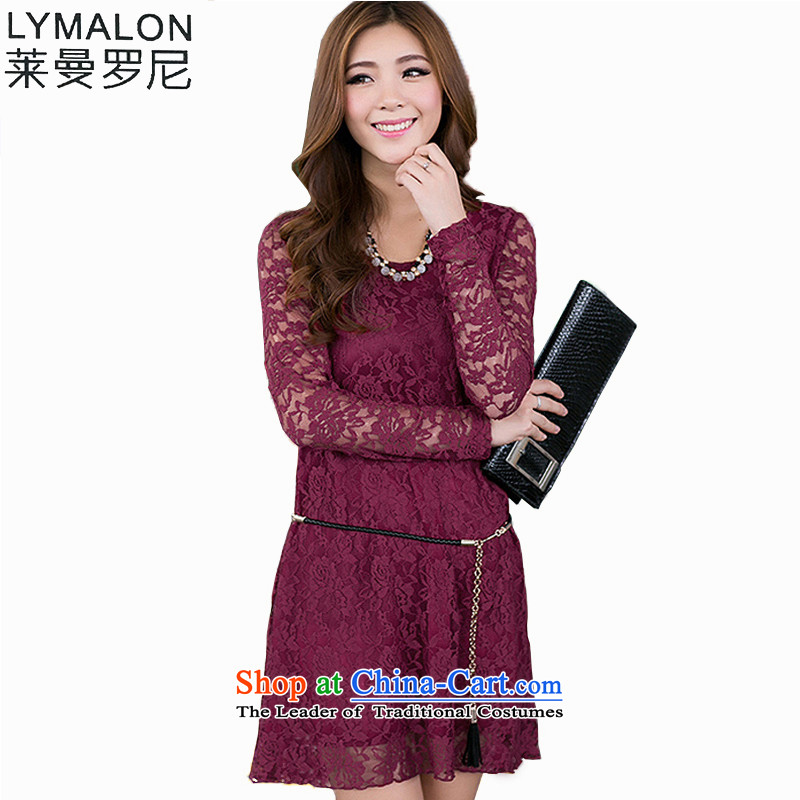 The lymalon Lehmann 2015 quarter new product version of large Korean women's code lace forming the long-sleeved Sau San even turning blackXXXL skirt 1546