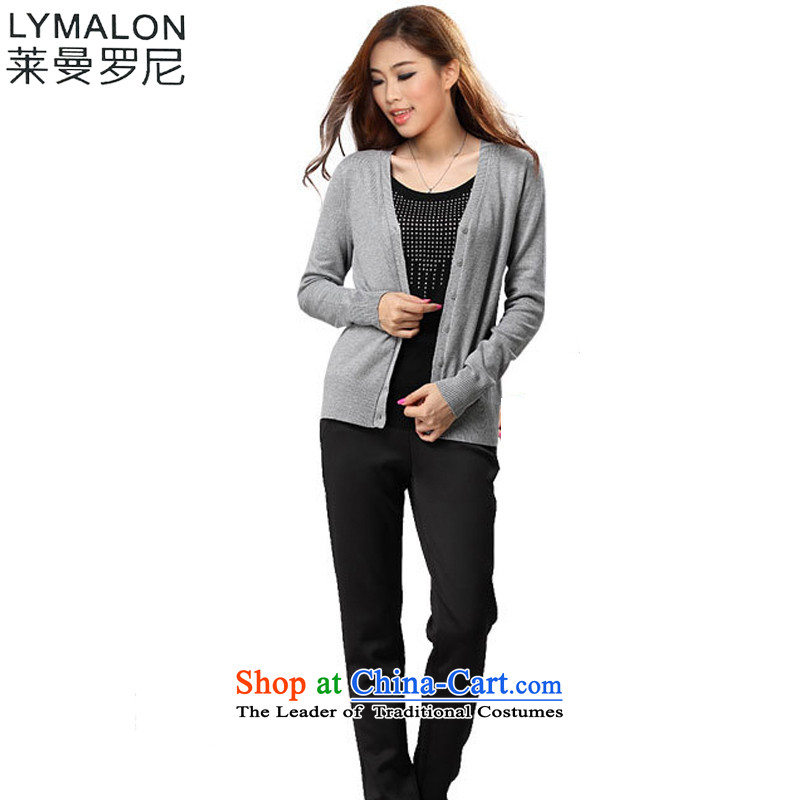 The lymalon lehmann thick, Hin thin fall 2015 Product Code women wear long-sleeved stretch of Sau San knitting cardigan throughout the year with more intensified efforts before the light gray燲XXL