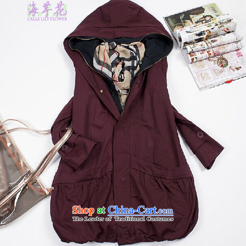 The sea route to spend the autumn and winter new Korean version of fat mm leave in two long loose thick warm air baffle for larger 泾蜮�XSM爓ine red - Winter thick cotton�L