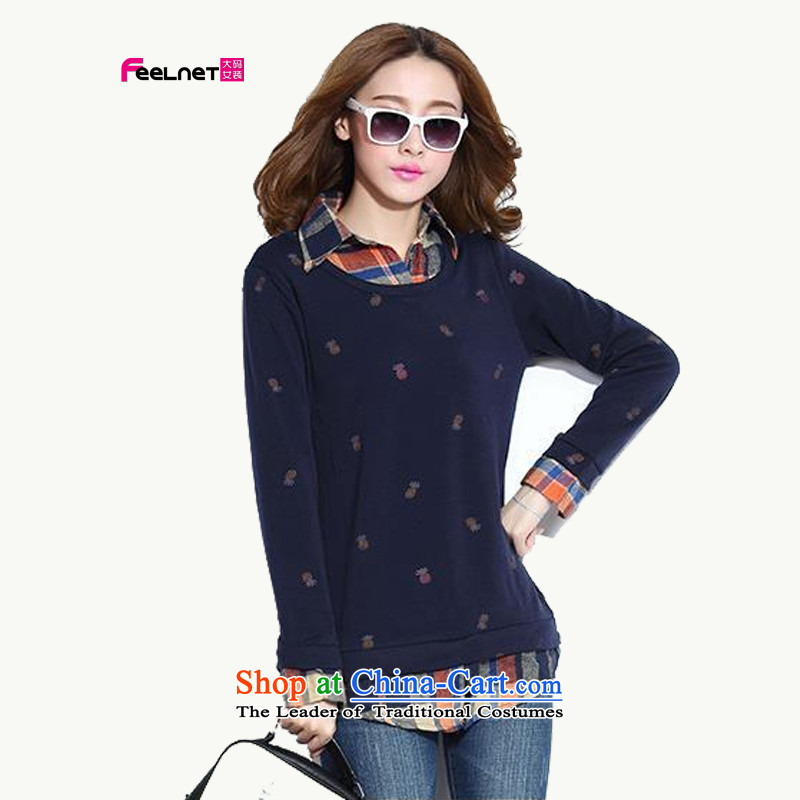 The Korean version of the 2015 autumn feelnet winter clothing new larger female thick sister video thin leave two plaid stitching oversized code 748 dark blue�L-42 shirt code