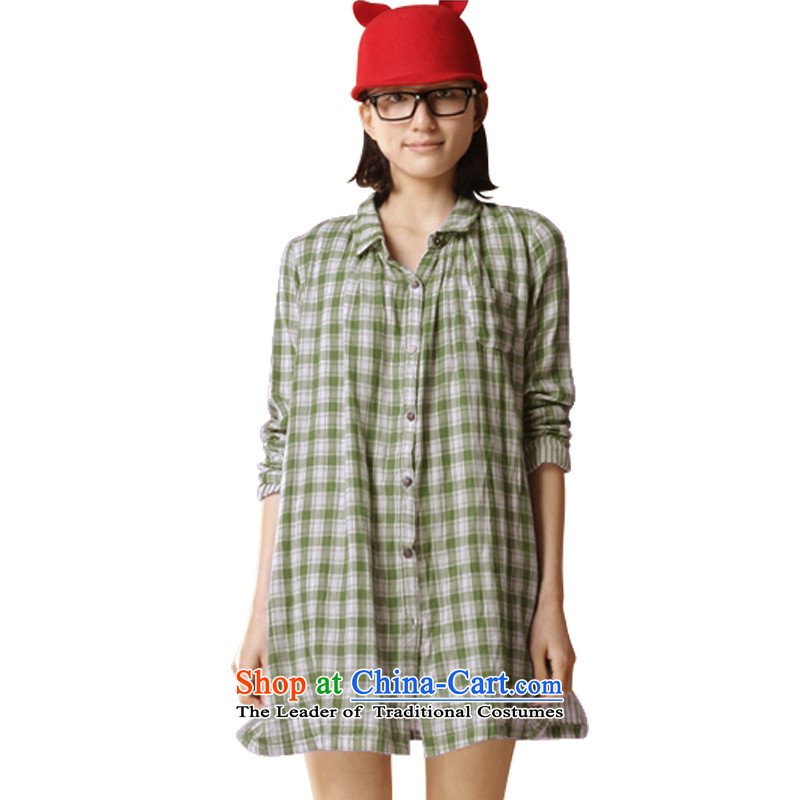 The autumn and winter load large feelnet code women thick mm thin loose video in plaid long long-sleeved shirt with loose large green grid 4XL-48 749 code