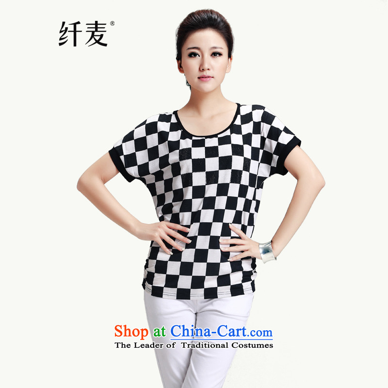The former Yugoslavia Migdal Code women 2015 new fat mm summer English larger female short-sleeved T-shirt, black-and-white燲XXXL 13187-1