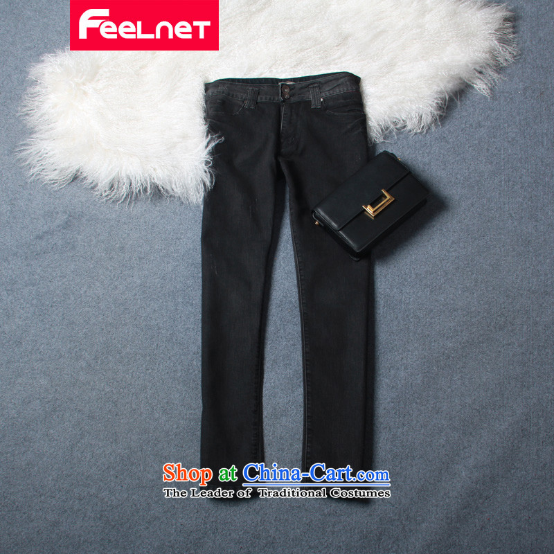 Clearance feelnet larger cowboy thick mm heavy code 2015 spring/summer load new graphics thin Korean large trousers jeans 672 Black 36 (2 ft75)