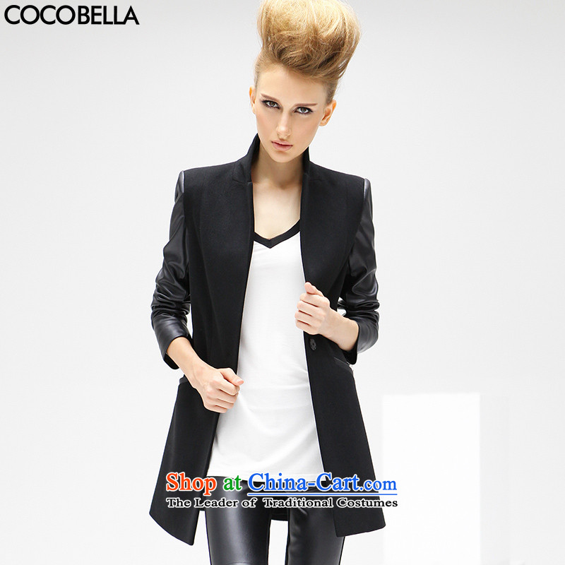 2015 Autumn and winter video COCOBELLA thin PU stitching a grain of detained women thin coat of graphics gross CT56 jacket blackS?