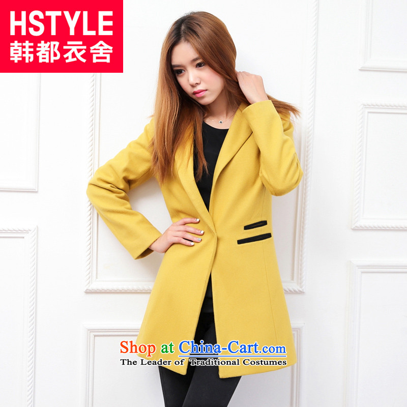 Korea has the Korean version of the Dag Hammarskjöld yi 2015 winter clothing new women's solid color stitching JW3022 gross Sau San?2. yellow jacket, L
