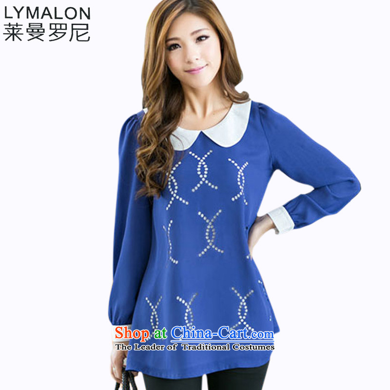 The lymalon lehmann autumn 2015 new product version won, Hin thick thin large female wild long-sleeved sweater chiffon 80 21 Blue燤