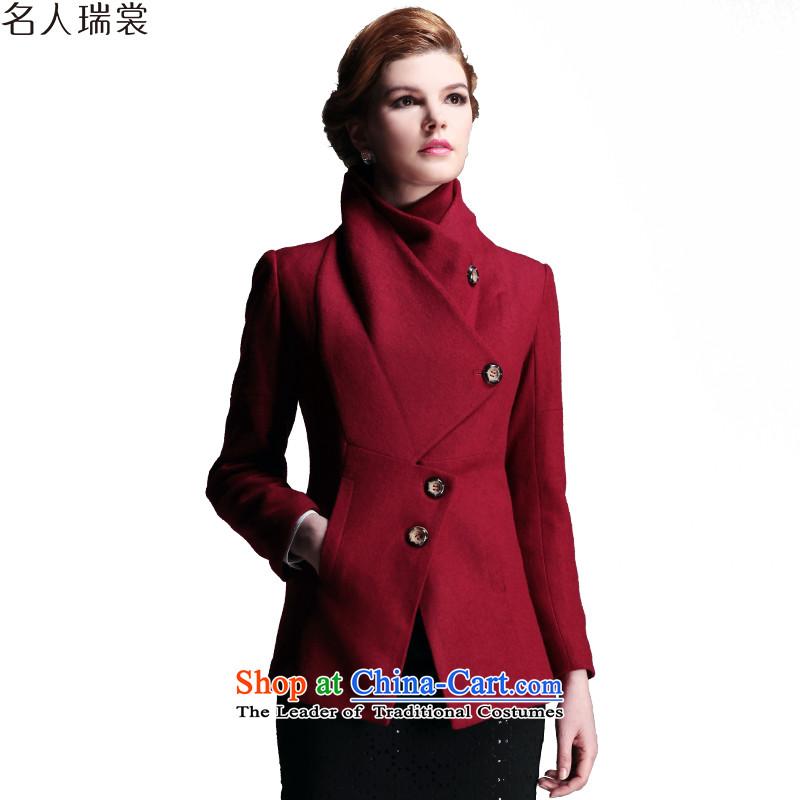 Celebrity Rui Advisory 2015 autumn and winter new personality stitching Stylish coat women? gross BOURDEAUX燲L