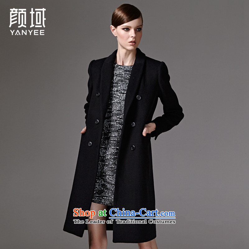 2015 Autumn and winter new stylish handsome double-long wool coat jacket female 04W3345??L_40 black