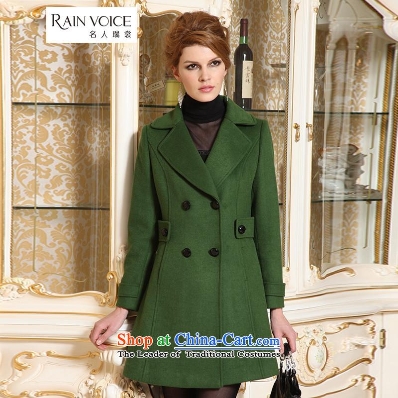 Celebrity Rui Advisory�15 new roll collar double-long wool coat gross Sau San?? coats female green燣