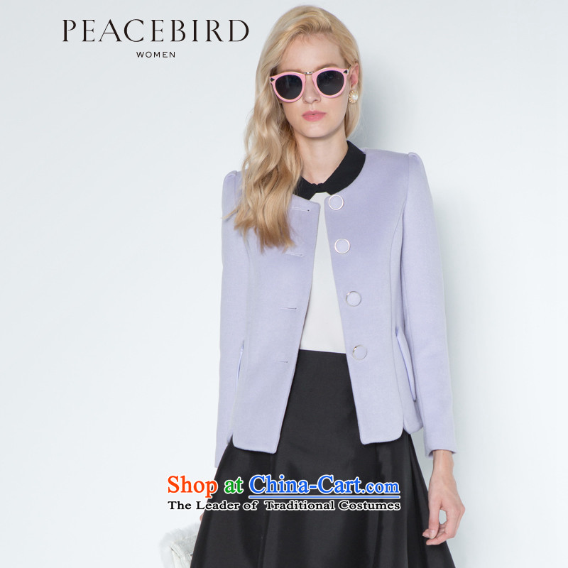 Women Peacebird 2014 new sweet wool a wool coat jacket female A4AA34134 Sau San purple聽XL