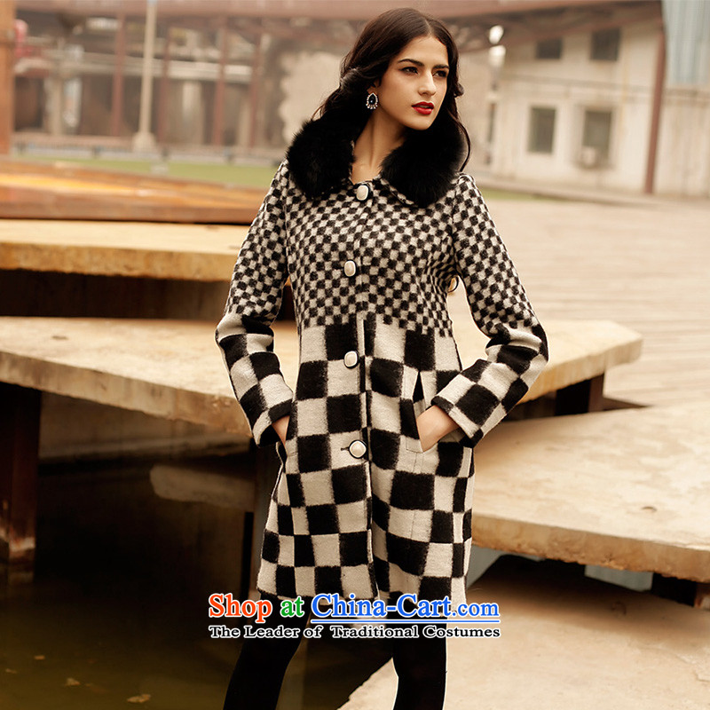 Marguerite Hsichih maxchic 2015 autumn and winter new long-sleeved blouses and wool cashmere in long hair for coats D10442 fox m White燲L