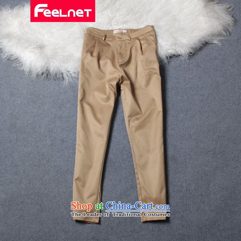 Large feelnet female thick mm new spring and summer 2015 installed new ladies pants trousers Harun large casual pants 778 khaki燾ode _2 feet_ 32