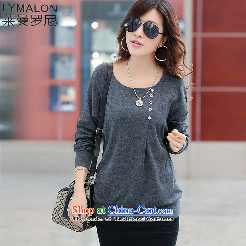 The lymalon lehmann thick, Hin thin autumn 2015 new product version of large Korean women's code wild long-sleeved T-shirt with round collar knitting forming the 8075 carbon XL