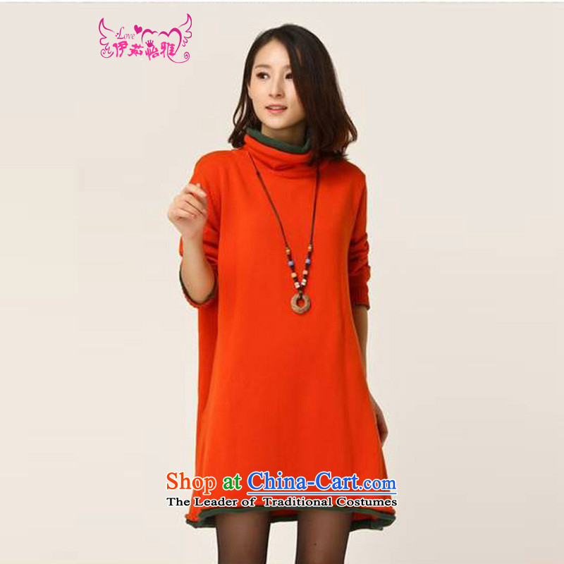 El-ju Yee Nga autumn and winter female larger female high-Neck Sweater in forming the long knitting, knitting dress Y12788 orange large numbers for the code