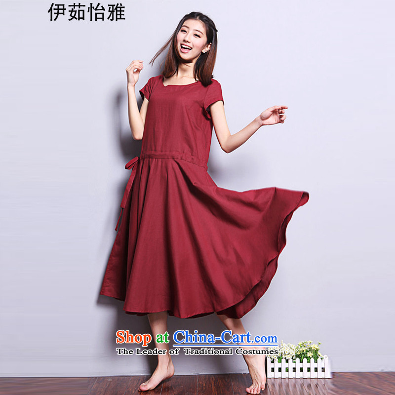 El-Yee Nga Summer Ju Won version of large numbers loaded in mom long MM thick cotton linen dresses YQ9183 BOURDEAUX XL