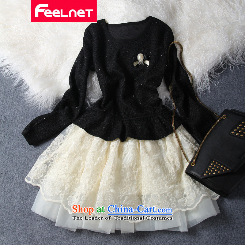 Extra-large code expertise feelnet mm autumn and winter new product codes video thin lace skirt flash chip xl dresses 794 Black Large Code 4XL
