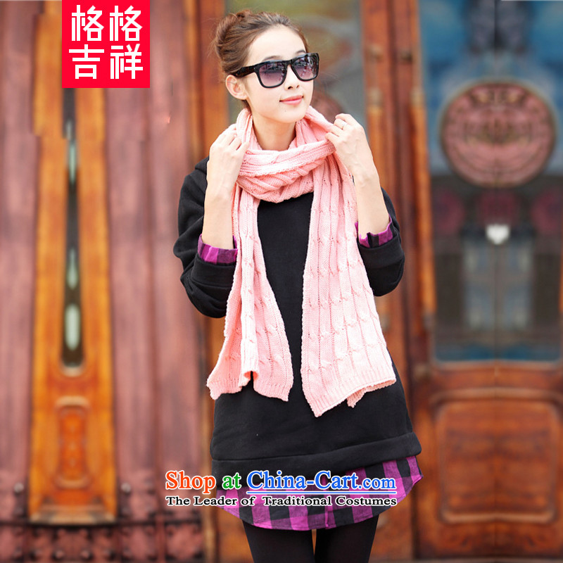 The interpolator auspicious xl women 2015 autumn and winter new Korean stitching grid in long-plus-thick sweater thick mm loose coat F951 3XL Purple