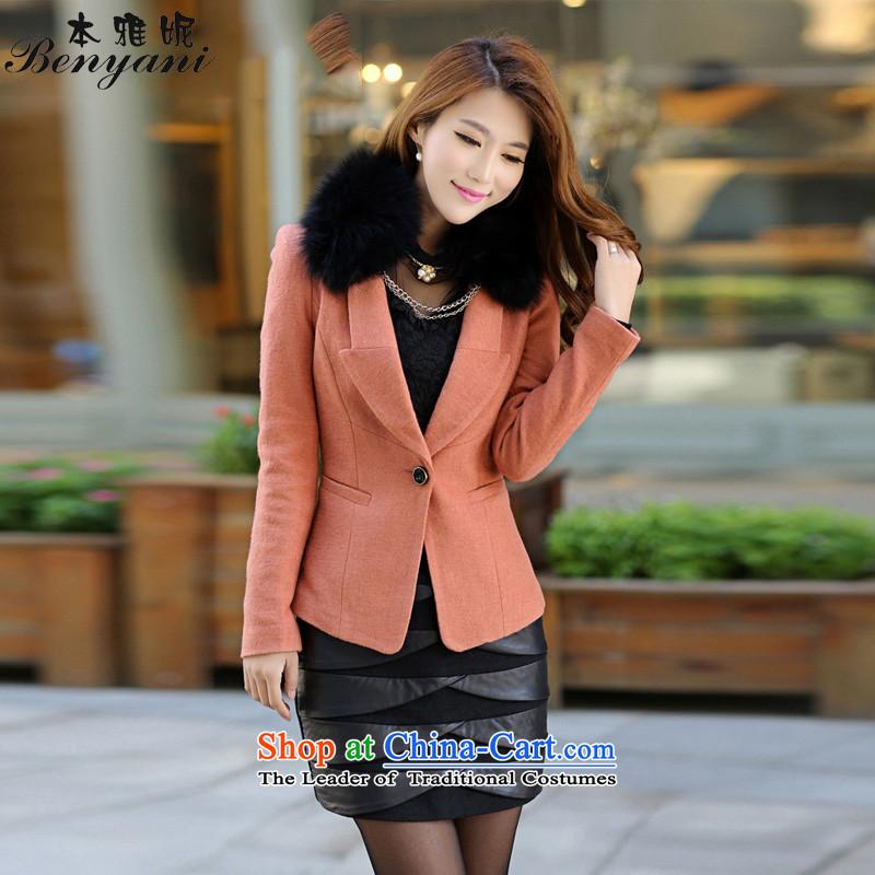 The�15 Spring Ya-Ni Tseng New Winter Female Korean version in the long hair of Sau San? Jacket coat orange燬?