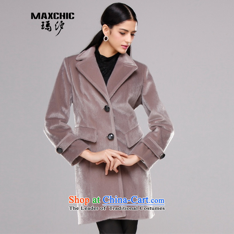 Marguerite Hsichih maxchic 2015 autumn and winter, fluorescent colors in long-sleeved long stingrays texture wool coat is lint-free female jacket 10,171 posts grayish brown XL