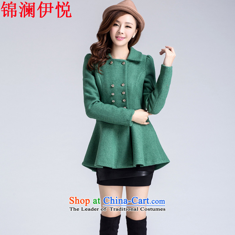 The world of Kam Yuet autumn and winter new women Napoleon, double-skirt swing gross a wool coat jackets for winter clothes in reverse collar long jacket a jacket Sau San Green燤