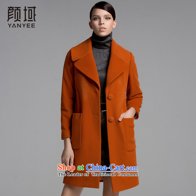 Mr NGAN domain 2015 autumn and winter new temperament long single row detained wool coat jacket?04W3369???XL_42 orange