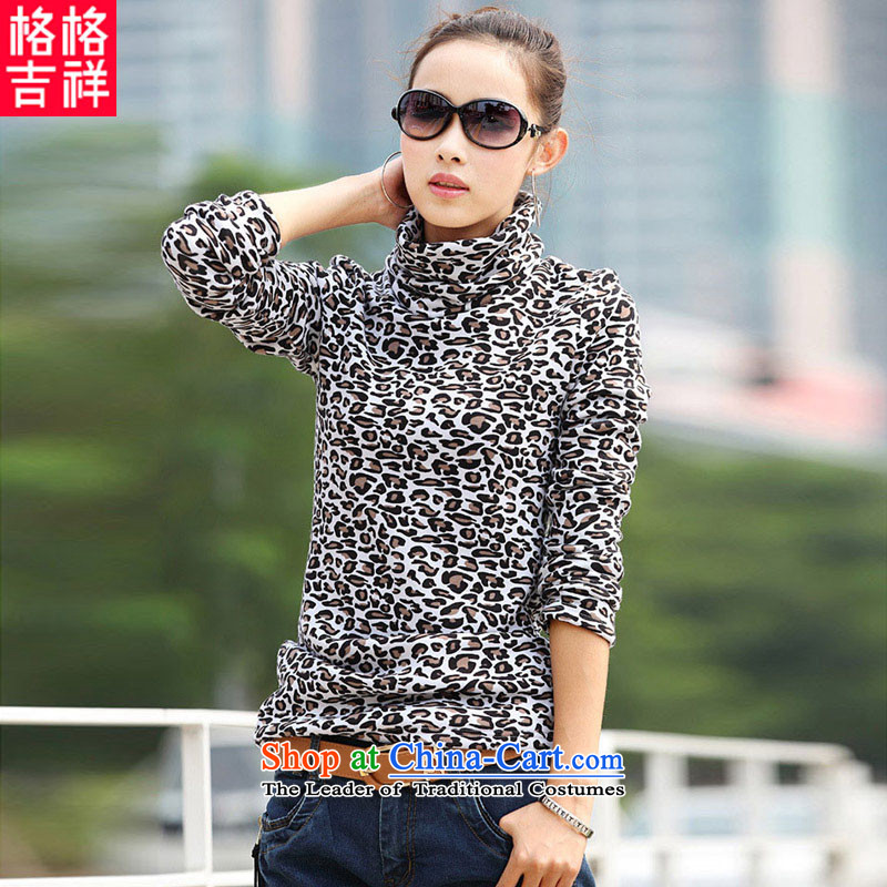 The interpolator auspicious for larger women, Hin thick thin 2015 autumn and winter new long-sleeved T-shirt with lint-free high-collar, forming the Netherlands F7910 white with lint-free聽4XL