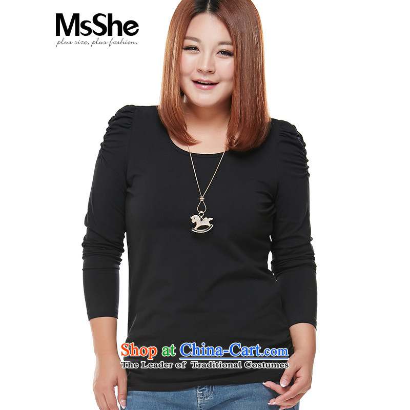 Large msshe women 2015 new long-sleeved shirt, forming the basis of autumn thick MM Sau San bubble-sleeve T-shirt 3XL 5251 Black