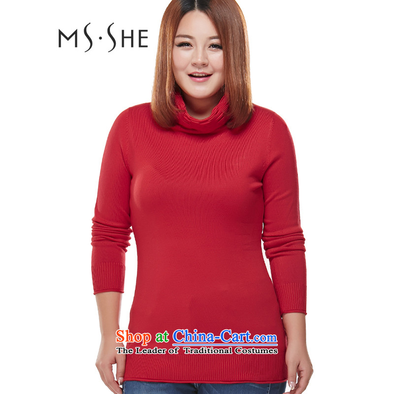 To increase the number msshe women 2015 Autumn_ thick mm video coltish neck shirt sweater 5819 forming the first big red2XL
