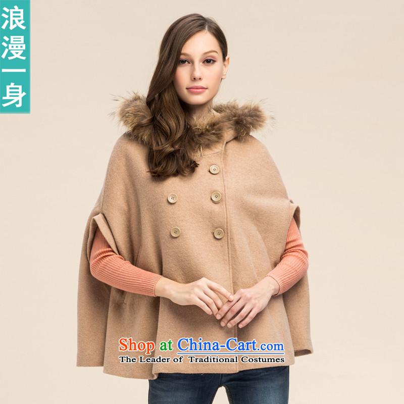 A romantic 2015 winter clothing new commuter double-girl shirt retro cloak cap gross? coats 8241119 khaki?S