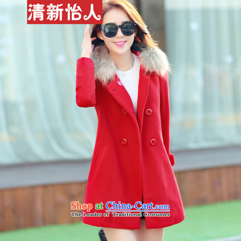 Fresh air in autumn and winter in women's long hair? a wool coat female red jacket燲L