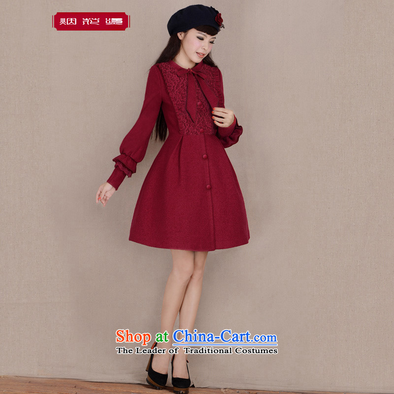 Fireworks Hot Winter 2015 new original temperament lace stitching long-sleeved jacket tin rain gross? wine red燤 spot