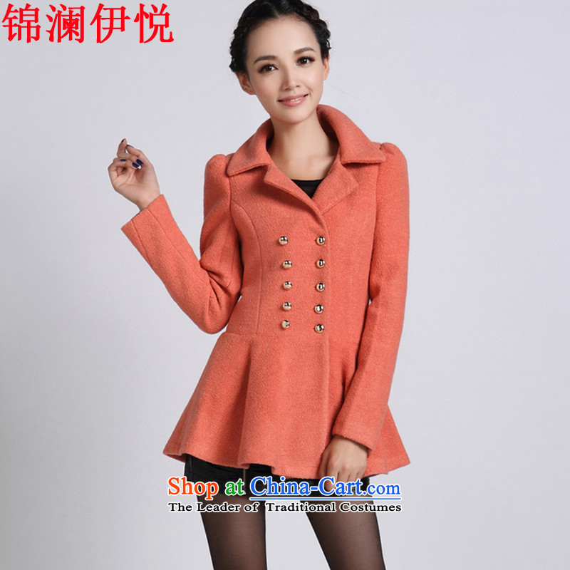 The world of Kam Yuet autumn and winter new sweet and double-skirt swing gross a wool coat jackets for winter female lapel coat a thin coat of video   jacket coat watermelon red燣
