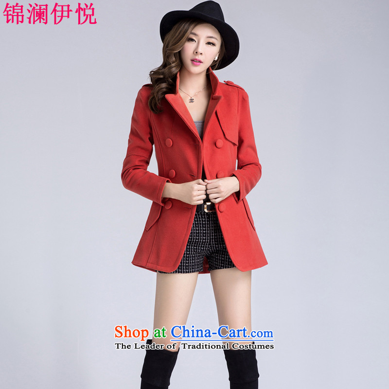 The world of Kam Yuet autumn and winter Load New Simple Sau San wild double-ni-coats gross? jacket in long hair? jacket Sau San stylish a wool coat orange燣