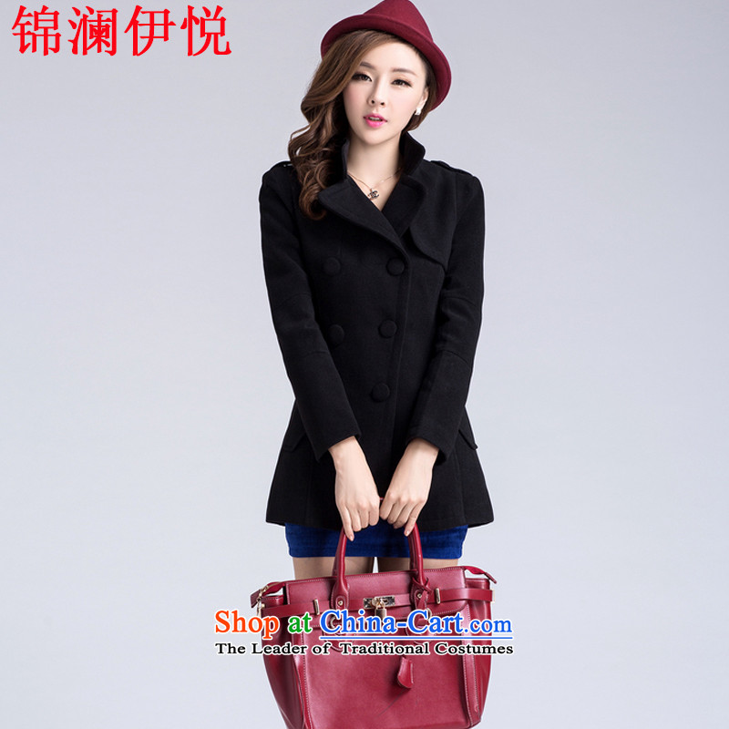 The world of yue han jin edition autumn and winter load new women's double-reverse collar Sau San video thin coat of sub gross so Connie jacket suit windbreaker Black聽XL