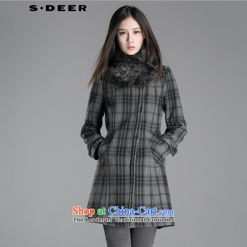 The holy,爏deer female winter can be removed from the gross collar plaid coats S12481806? Germany _87 S_160_80a_ Gray