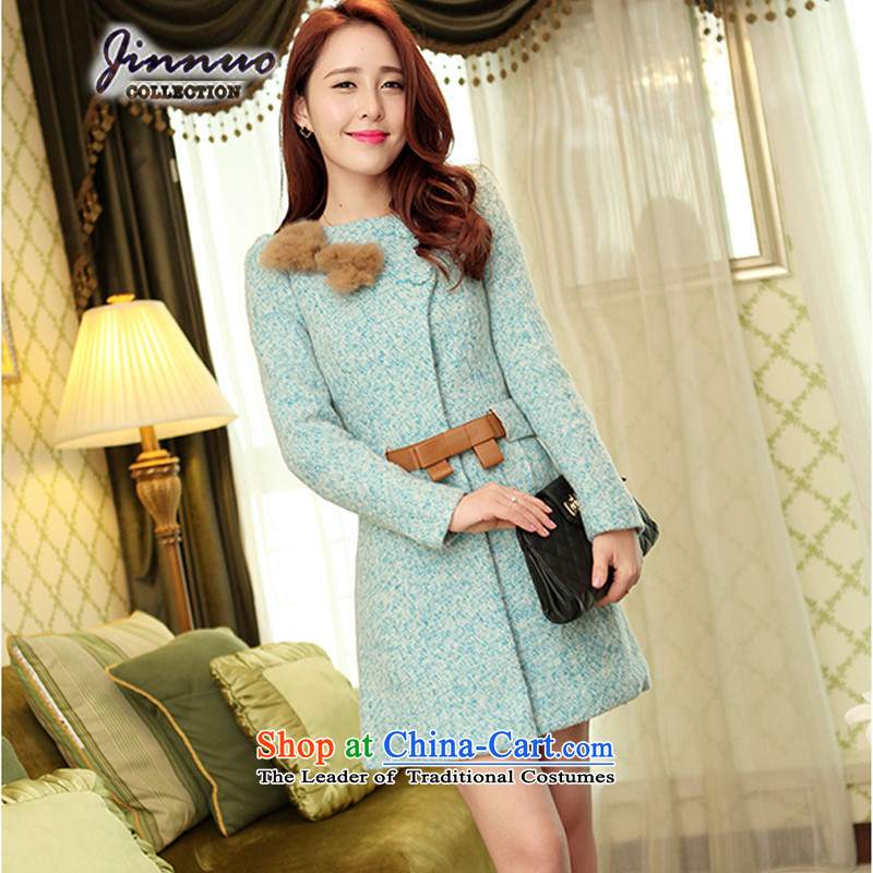 The world of Kam Yuet Fall_Winter Collections of new products by 2015 Women's bow tie a wool coat wool coat Ms. gross?   windbreaker stylish small wind-Sau San Milan燣