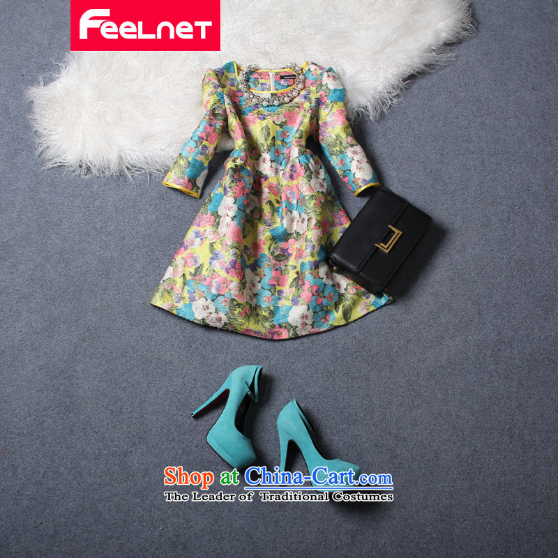 Europe and the 2015 autumn load feelnet new larger female thick sister retro gold stamp extra dresses 115 large 5XL Suit