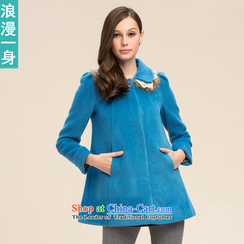 A romantic�15 Winter sweet pure color Foutune of nuclear sub gross Small lapel coats 8241608? blue燬