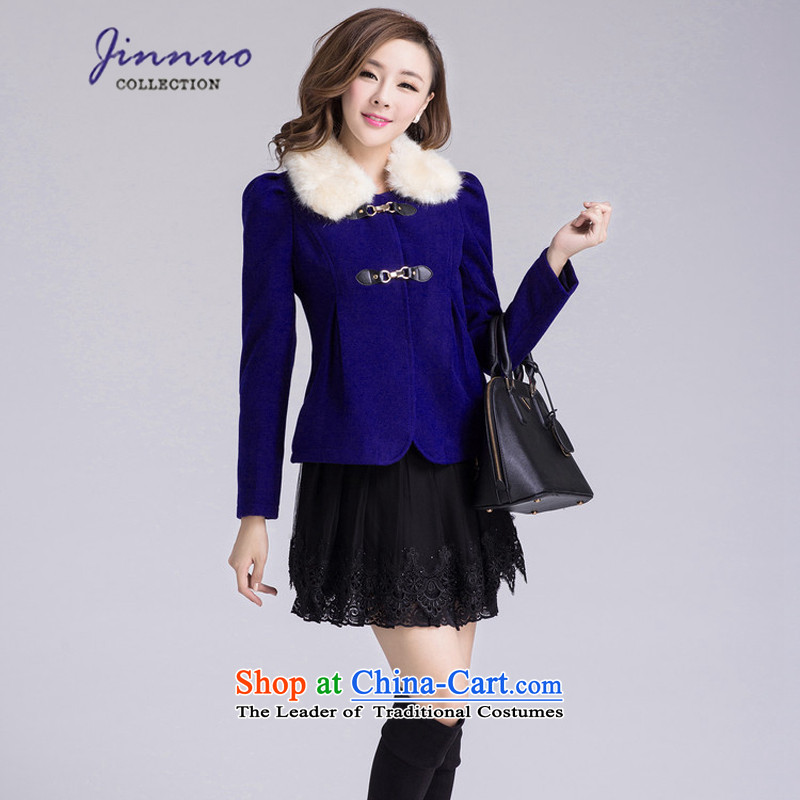 The world of Kam Yuet spring new women's England wind a wool coat Korean Sleek and versatile temperament short of the amount? topper with gross collar ZYQA83112 Blue燤
