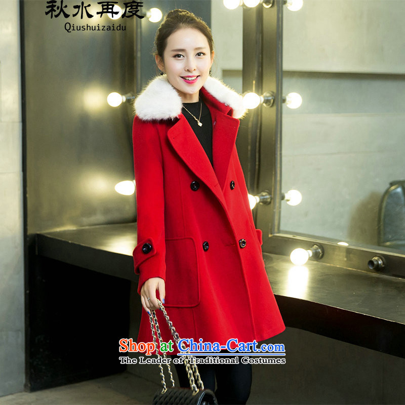 2015 WINTER again swordmakers gross female Korean jacket?? coats female breast gross video thin temperament in reverse collar long red XL