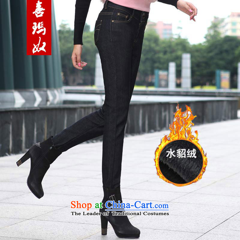 Hee-won version of large arsenal Princess Code women to increase expertise in mm plus lint-free high-waist jeans thick warm castor trousers M66669 black 44