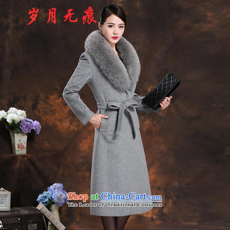 Cashmere overcoat female 2015 woolen coat loose really fox gross for long hair that Ms. jacket grayXL