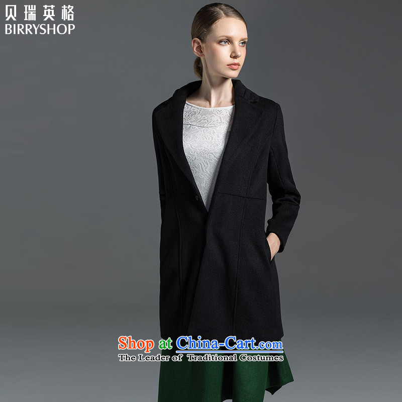 Berry, autumn and winter female decorated in classic waistband wool gross? coats that long jacket, 31331548 black燲XL