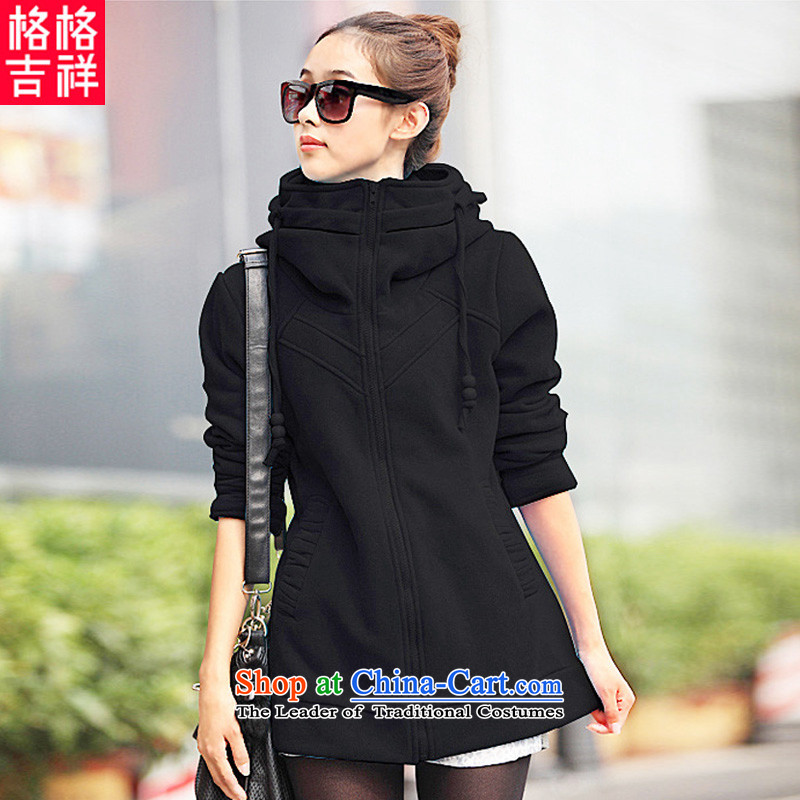The interpolator auspicious xl women 2015 Fall_Winter Collections new Korean thick mm video plus lint-free in the thin-thick long sweater leisure jacket F3032 3XL black