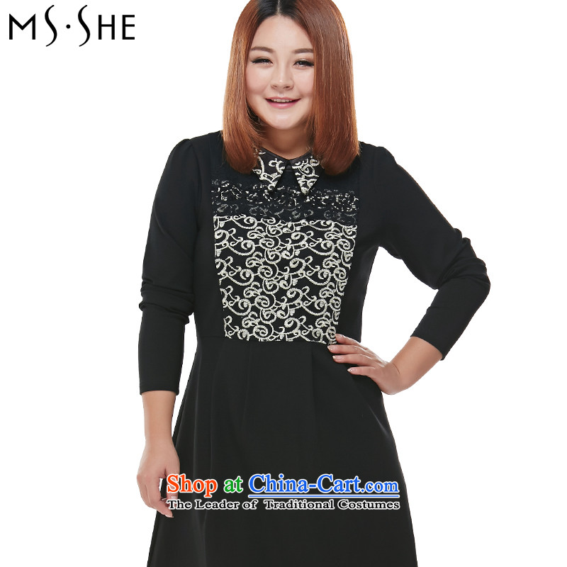 To increase the number msshe women 2015 Autumn new thick MM Color Plane Collision lace Sau San long-sleeved dresses 5567 Black 4XL
