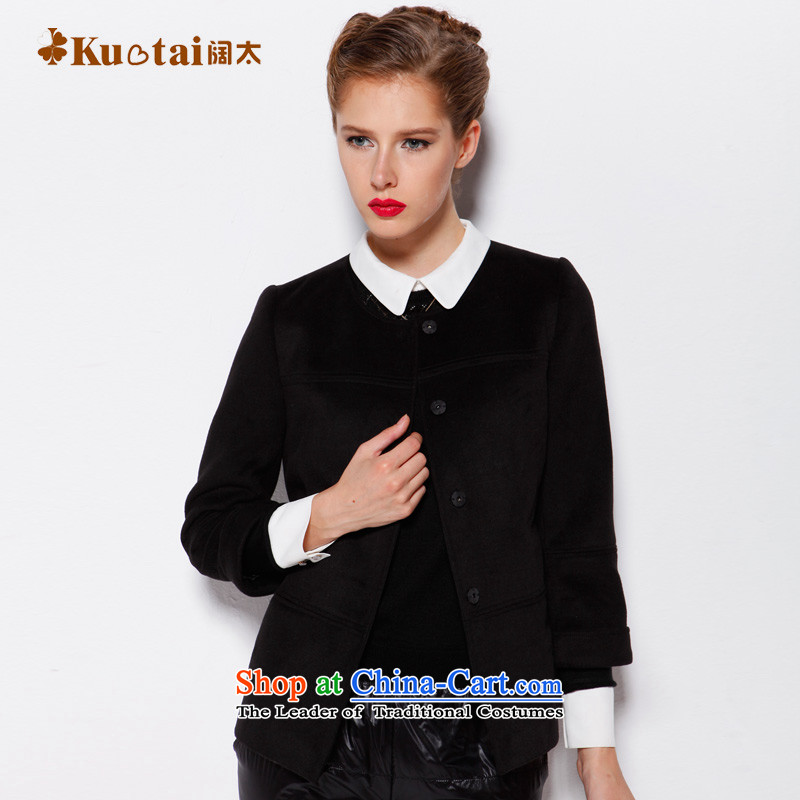 Widen too a wool coat female autumn and winter short of the amount? 9 cuff round-neck collar small incense wind jacket large so gross black燤